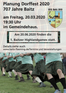 Planung Dorffest am Freitag 20.03.2020